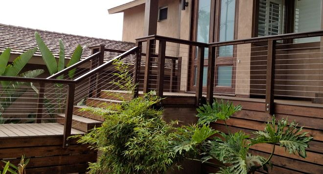 Cable Deck Railing Fascia Mounted Wood Posts And Rail With Cable Infill Outdoors Pinterest