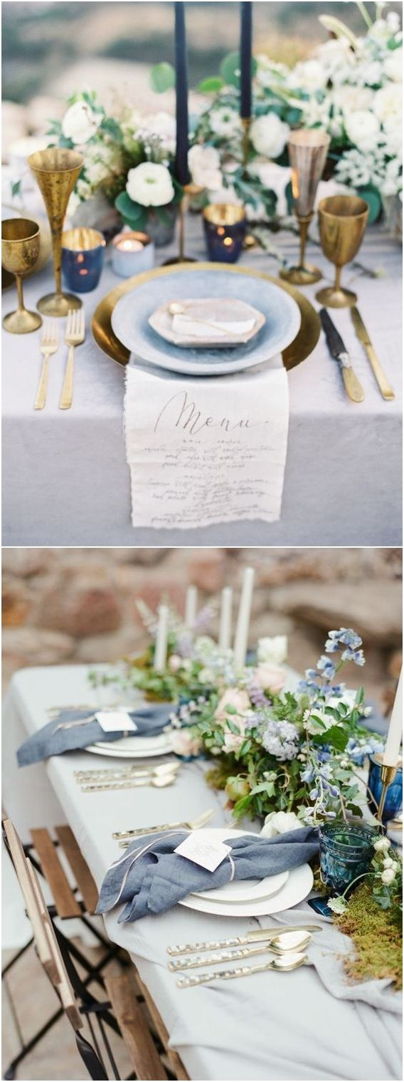 Dusty blue wedding reception decor idea #weddings #weddingideas