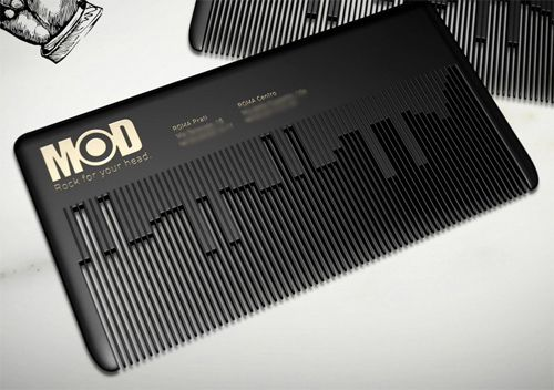 MODhair is the Rome Rock 'n Roll hair salon. This comb plays a classic rock theme when rubbed by fingernail, using the same principle of a musicbox comb.  #advertising #marketing