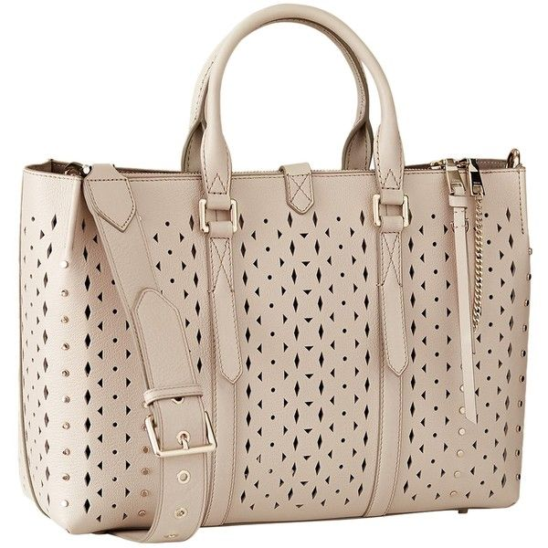 Reiss Picton Leather Laser Cut Tote Bag (10.995.360 VND) ❤ liked on Polyvore featuring bags, handbags, tote bags, ecru, leather tote purse, man bag, leather handbag tote, leather hand bags and pink tote