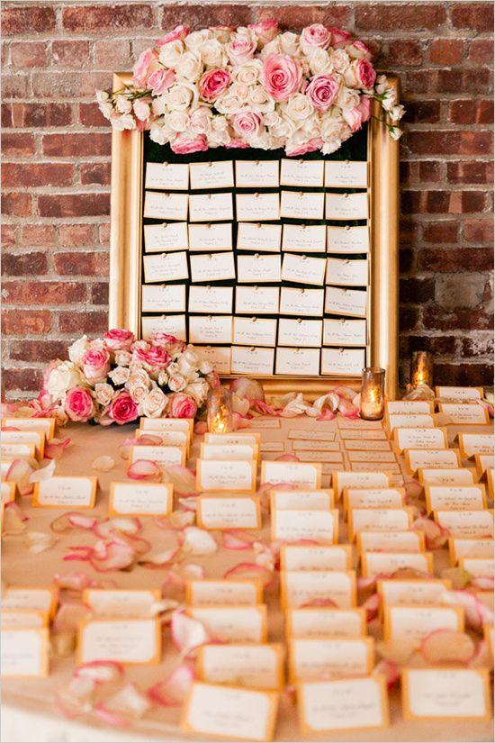 elegant escort card display | gold and pink wedding ideas | NYC wedding venue | #weddingchicks