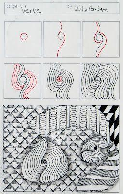 Tinker Tangles: Tangle Pattern: Verve: Verv Zentangle, Tangled Patterns, Jj Labarbera, Zentangle Doodles, Zentangle Tutorials, Zentangle Patterns, Tinker Tangled, Zentangle Inspiration