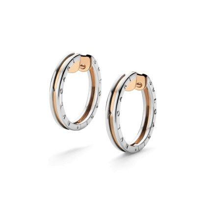 Bvlgari B.zero1 pink gold and steel hoop earrings - BVLGARI - Featured Designers - Fine Jewelry