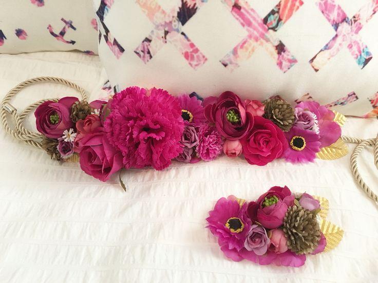 Cinturón de Flores y Broche para Boda. Buganvilla
