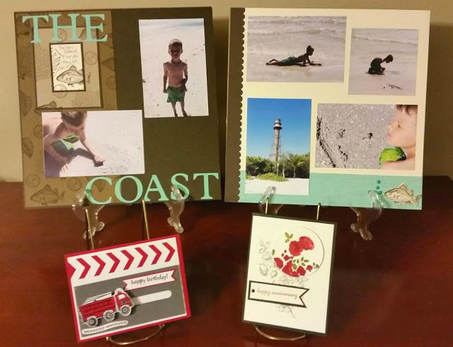Stacy's Stampin' Spot: April Stampin' Meeting - Two Page Beach Layout and Technique Cards