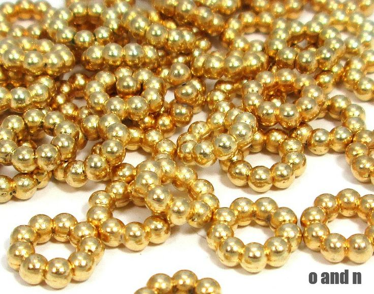 Gold plated rondelle beads / spacers, 11mm, (4) - O and N