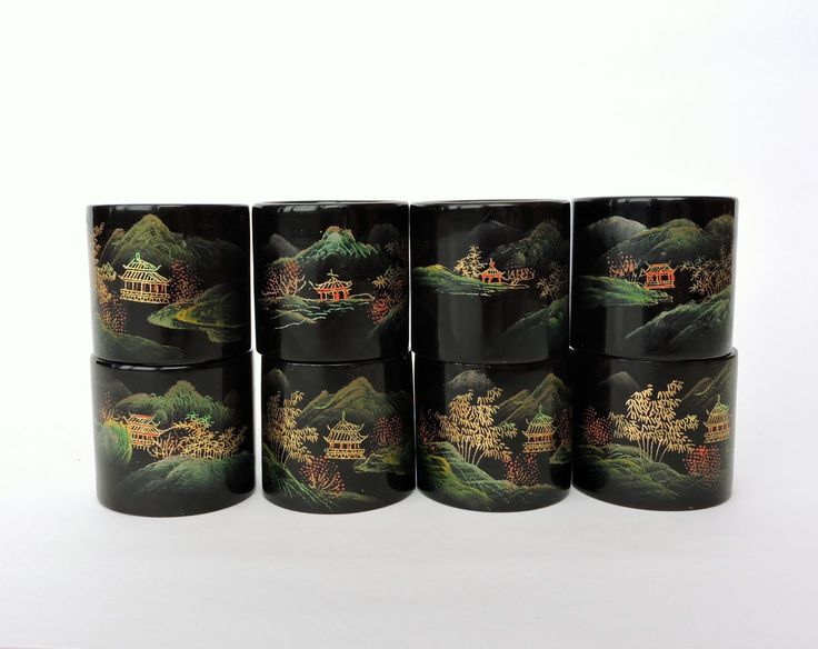 Vintage Napkin Rings, Black Lacquer Napkin Rings, Asian Napkin Rings, Hand Painted Gold Accents, Pagoda, Chinese Japanese Oriental by ninthstreetvintage on Etsy
