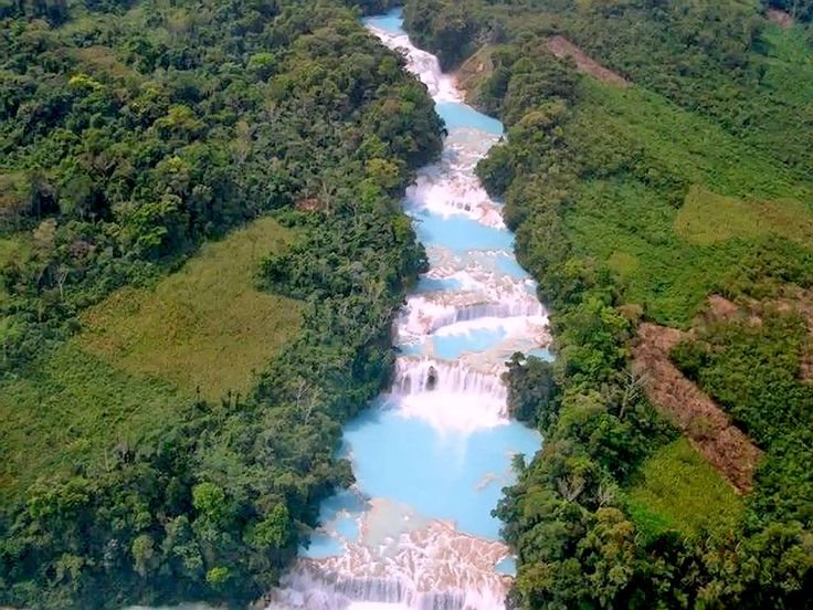Mexico - The Cascadas de Agua Azul located in the Municipality of Tumbalá in the state of Chiapas are a series of waterfalls on the Xanil River.