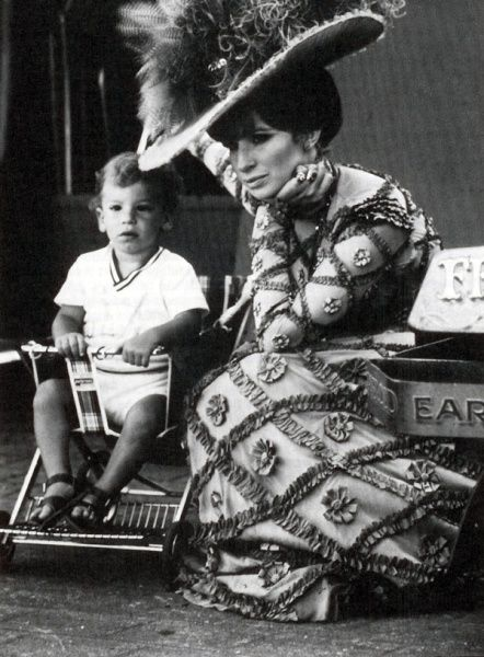 """Barbra Streisand with son Jason on the set of """"Hello Dolly"""". See HELLO, DOLLY! live on stage with Music Circus at the Wells Fargo Pavilion JUNE 28-JULY 3, 2016. TICKETS: http://www.californiamusicaltheatre.com/events/hello-dolly-2016/"""