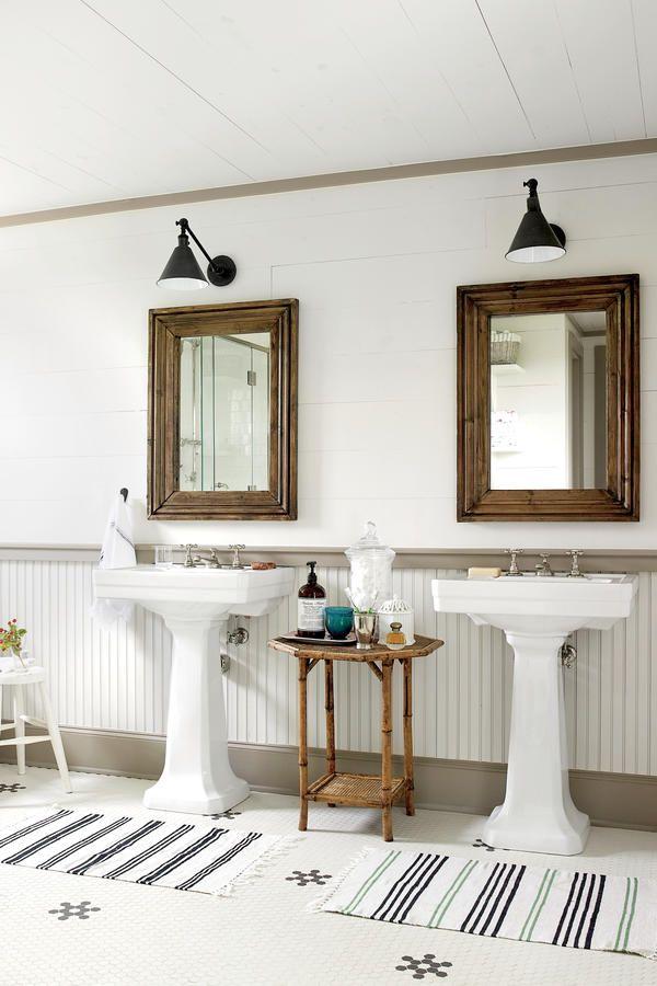 15 Ways with Shiplap Farmhouse BathroomsWhite BathroomsDream