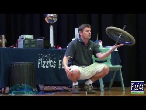 How to demonstrate gyroscopes on spacecraft with a bike wheel - YouTube