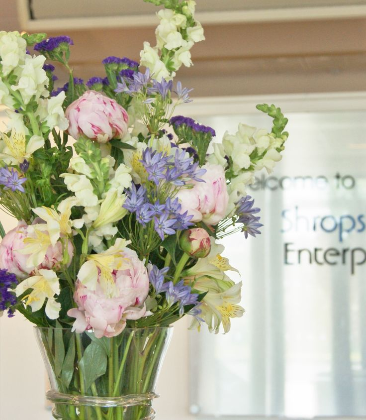 Soft mix of British-grown flowers for an office reception desk. Florissimo, Shropshire