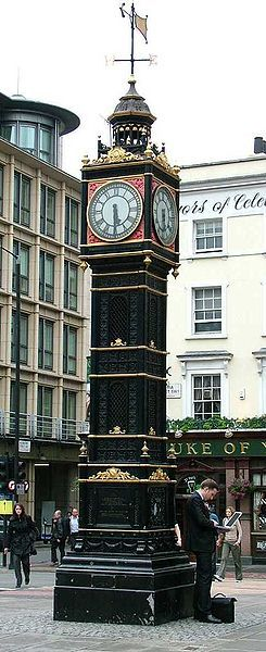 """Little Ben"" ~ is a miniature clock tower originally erected in 1892 situated at the intersection of Vauxhill Bridge Road + Victoria Street, in Westminster, central London."