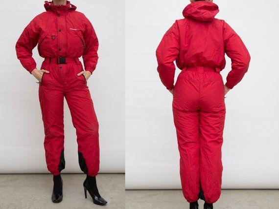 Vintage Onesie Ski Suit 90s Red Ski Wear Onepiece Snow Suit Etsy Snowboarding Outfit Snow Suit Ski Wear