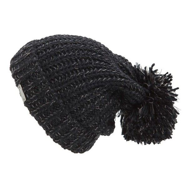 Bench. 'Makeover Turn Up Bobble' Beanie (320 MXN) ❤ liked on Polyvore featuring accessories, hats, jet black, black hat, oversized beanie, black oversized beanie, long beanie hats и long beanie