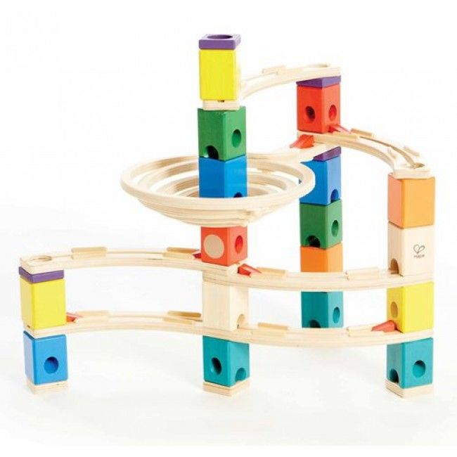 Are you dizzy yet?! This twisty wooden marble run is a timeless classic that will provide hours upon hours of fast-speed fun! Made from high quality natural wood and brilliant coloured blocks, this marble run is super easy to construct and allows you to change and determine the marble's path. #marblerun #classictoys #entropytoys #toystore