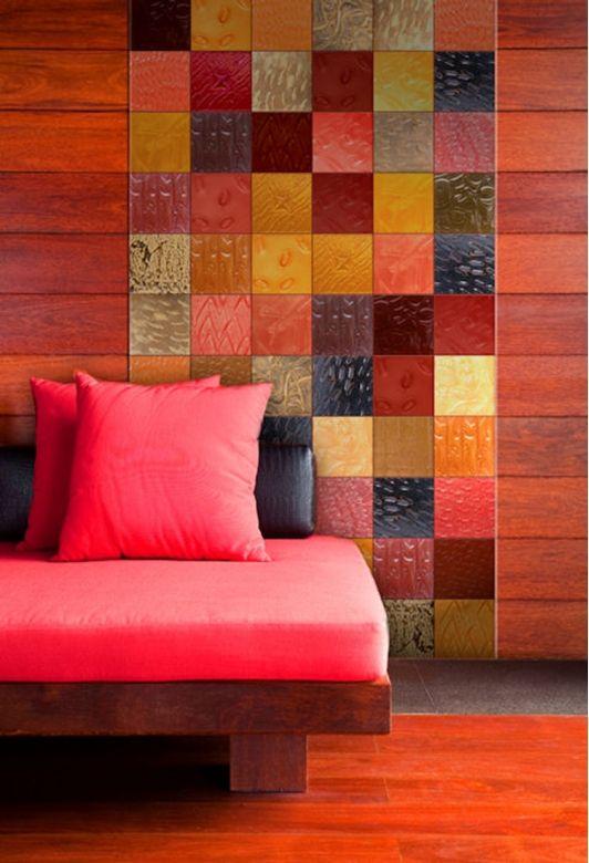 Unique tile design in the living room