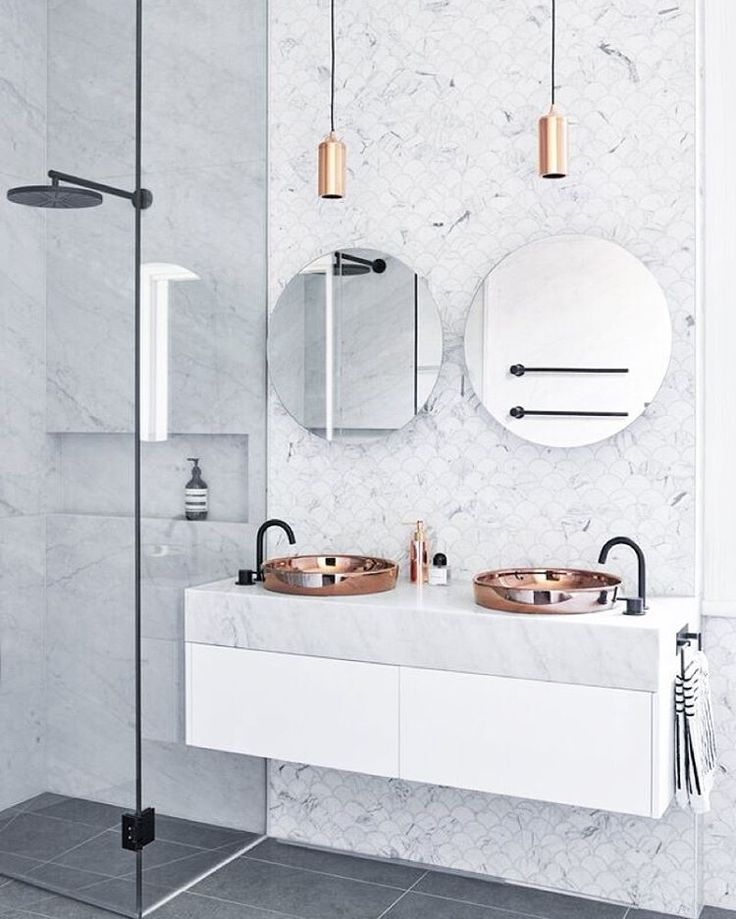 """// THOSE Carrara Marble Fish Scale Mosaics + that oversized BLACK shower head ;) Styled by @marshagolemac for @studio103ptyltd. Photo by @_danhocking_.…"""