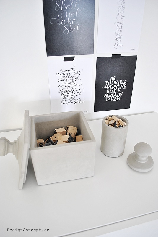 Storage boxes in concrete, from Tove Adman postcard from Ylva Skarp
