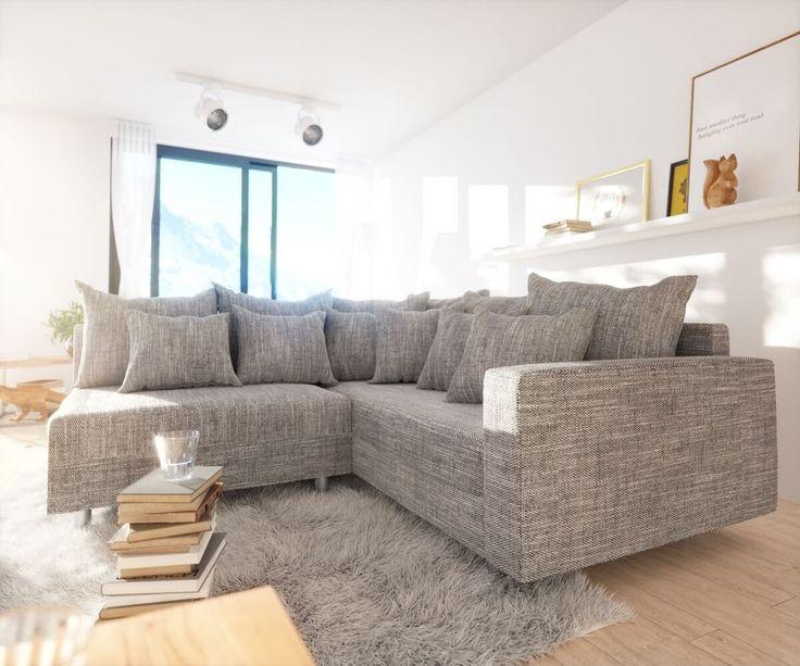 DELIFE Ecksofa Clovis Hellgrau Strukturstoff Armlehne Ottomane Rechts,  Design Ecksofas, Couch Loft, Modulsofa