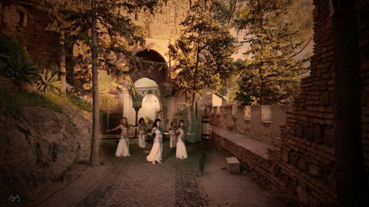 Danza de Najmarabic en las noches de la Alcazaba de Málaga. Fotomontaje