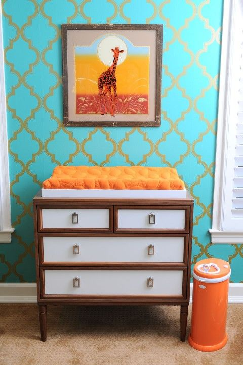A unique and #colorful #nursery, featuring the Ubbi Diaper Pail in orange -- only at giggle. | #safari