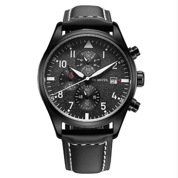 OCHSTIN GQ043B Fashion Leather Strap Men Quartz Watch Luxury Multifunction Business Watch at Banggood
