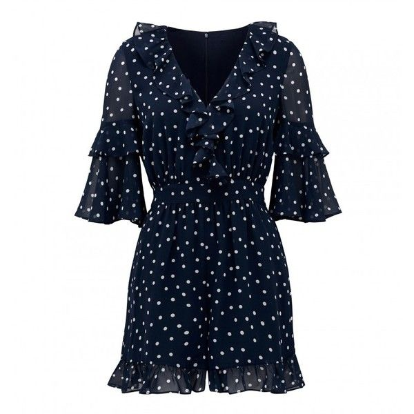 Sally Spot Mini Wrap Playsuit (635.385 IDR) ❤ liked on Polyvore featuring jumpsuits, rompers, blue romper, polka dot rompers, wrap romper, blue polka dot romper and polka dot romper