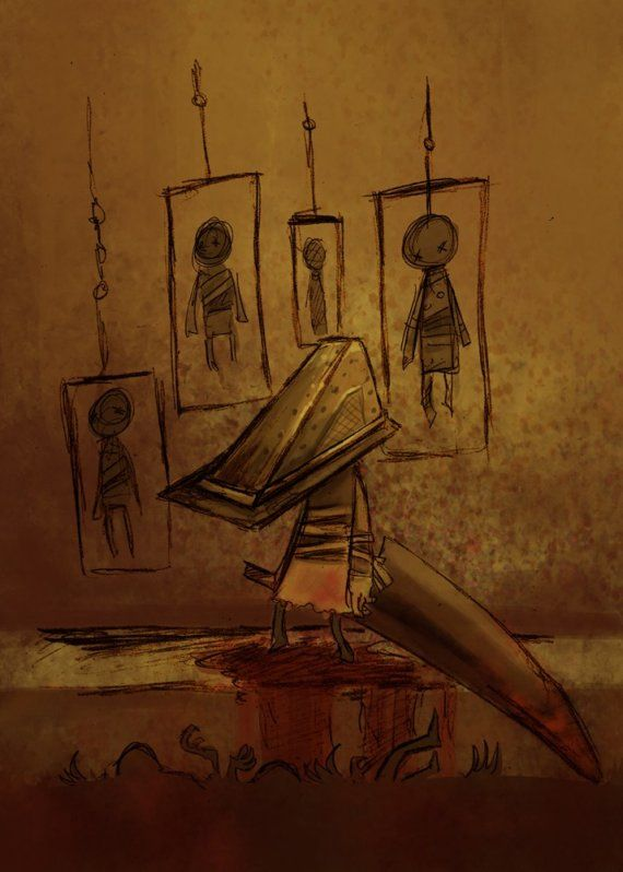 Pyramid head as you never imagined him. I actually just bought these for my boyfriend along with 4 of her other prints. She's an amazing artist!