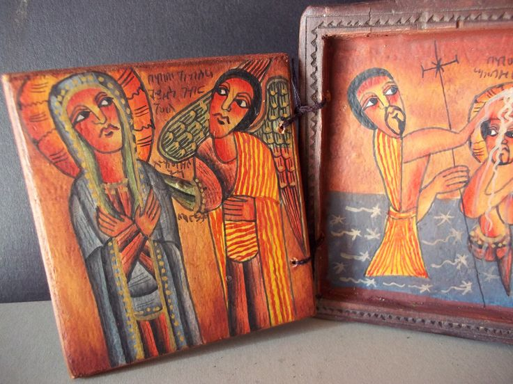 COPTIC CHURCH ICON - Talismanic symbols - Christian - Wood carving - Cross - Geez - Celtic - Christian religious painting - Nativity - angel by TribaleBijoux on Etsy https://www.etsy.com/listing/261529620/coptic-church-icon-talismanic-symbols
