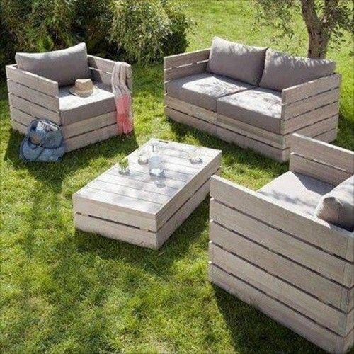 complete sofa and love seat set with a coffee table made from pallets