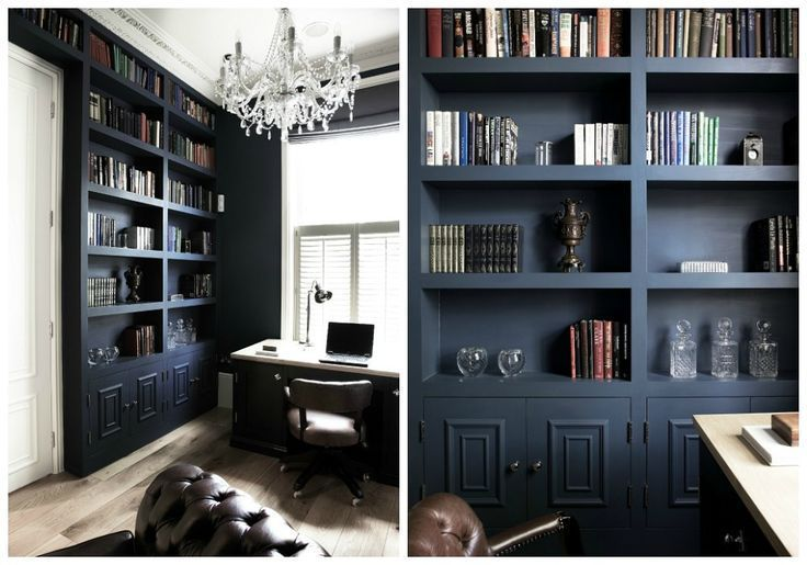 ... Farrow and Ball Hague Blue. I love the way it looks on book shelves, very chic. (Via House Beautiful and Cochrane Design)