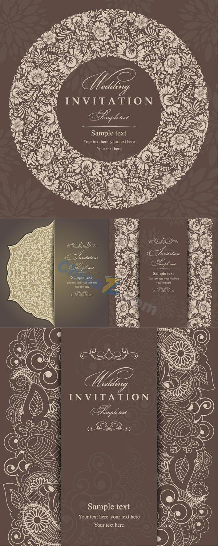 Elegant patterned invitation cards vector templates 194