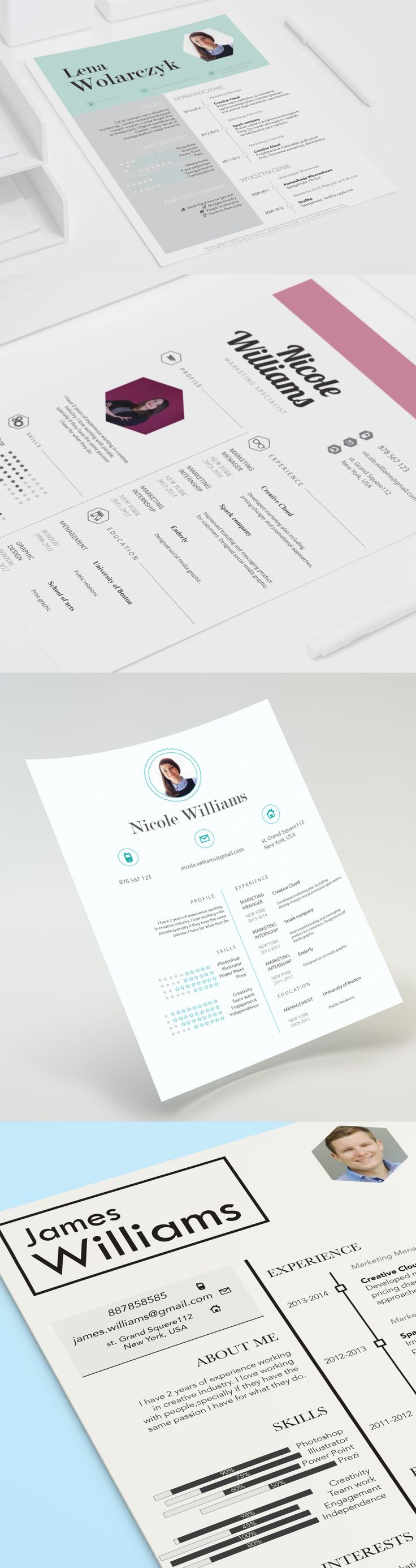 202 best resume templates images on pinterest creative resume