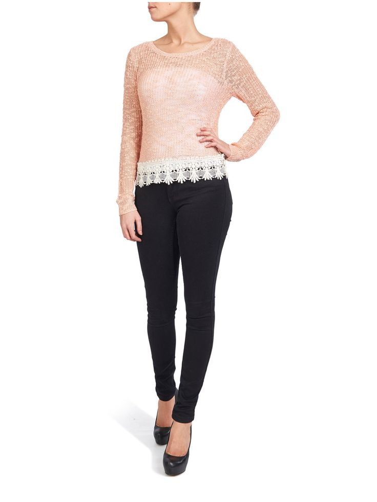 LONG SLEEVED KNITTED PULLOVER, Peach Melba
