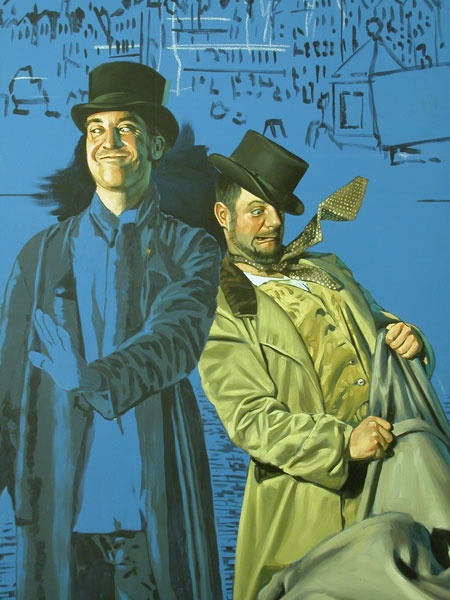 Burke and Hare mural detail - lifesize, work in progress