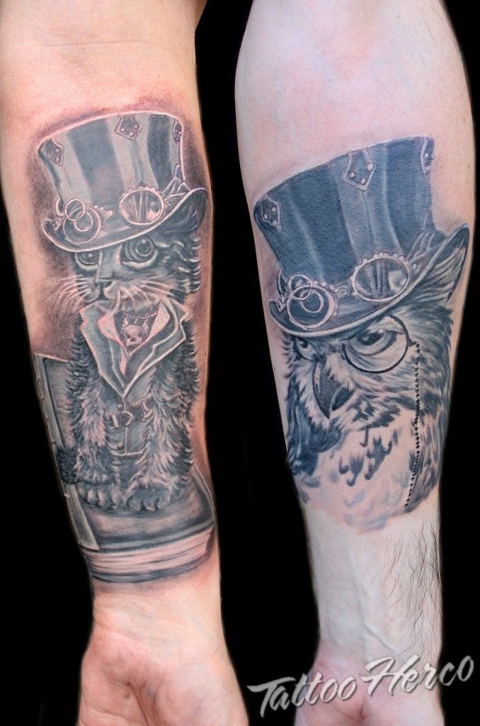 Cat and Owl made by Tattoo Herco.