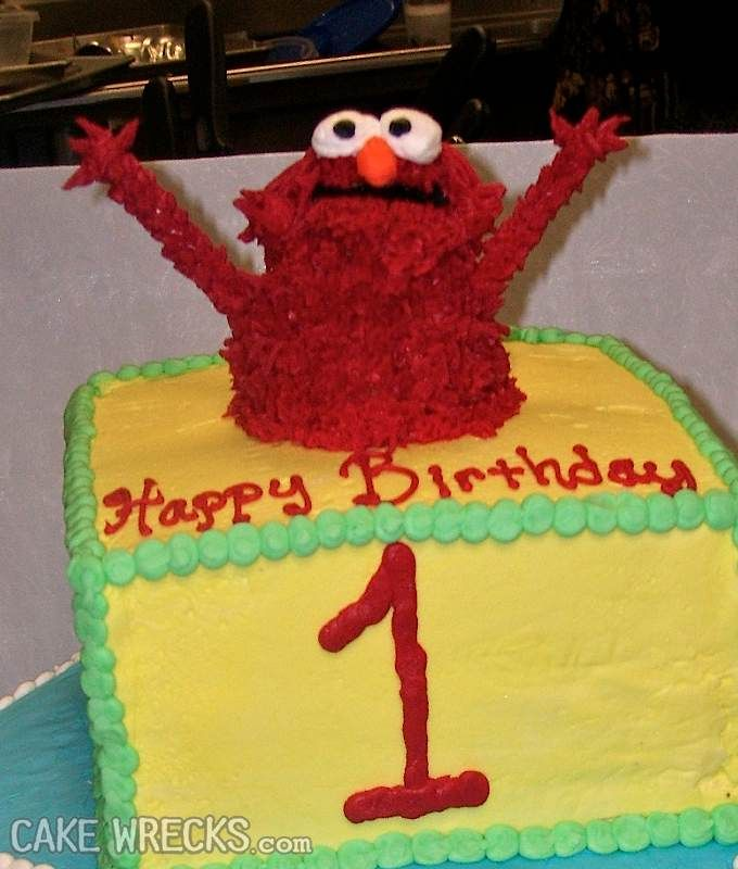 The most amazing Elmo Cake Wreck I have ever seen ...