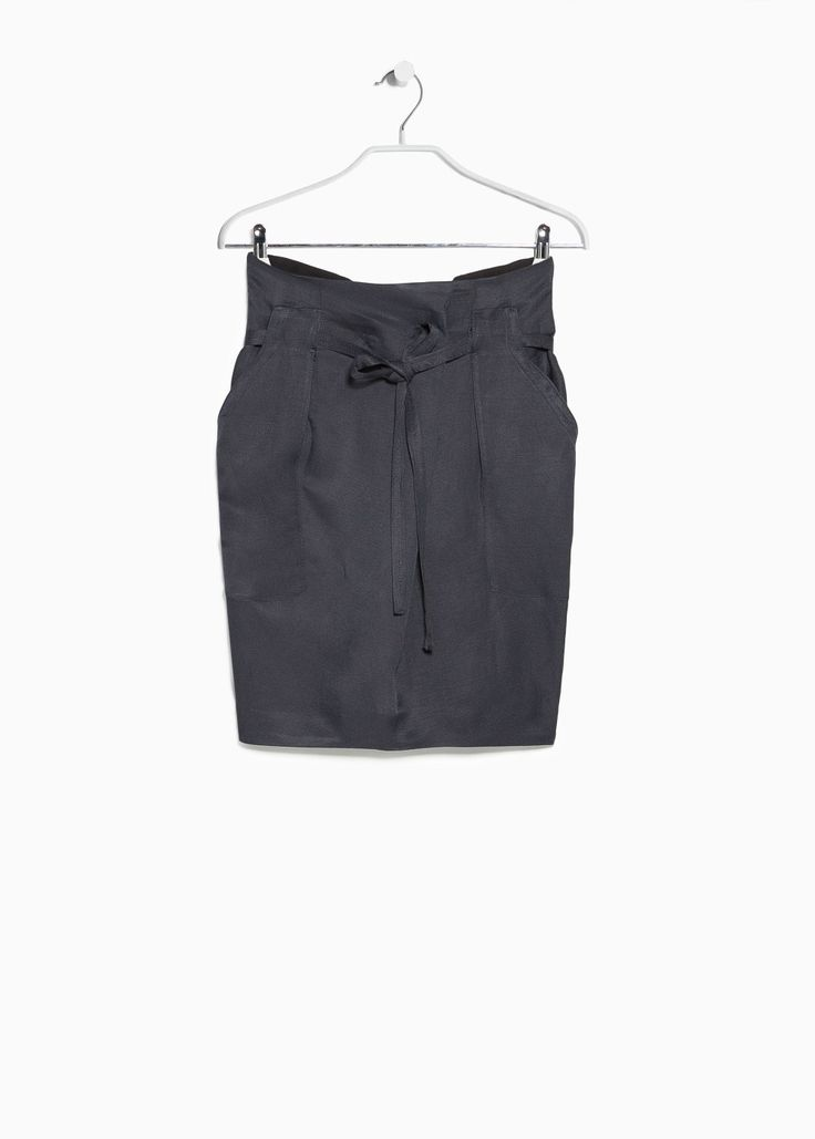 Premium - linen-blend bow skirt | MANGO