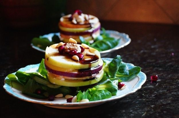 """Salad - Greens Dressed with Apples and Pine Nuts 