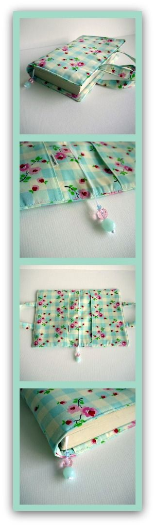 Cubierta de libro de bolsillo hecha con tela de colores pastel - A paperback cover made in pretty pastel checked fabric