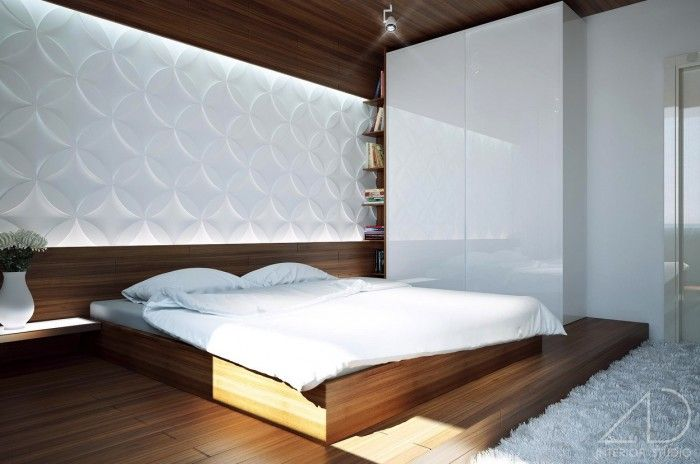 Wooden Low Profile Bed With White Quilt And Pillow Also White Fur Rug