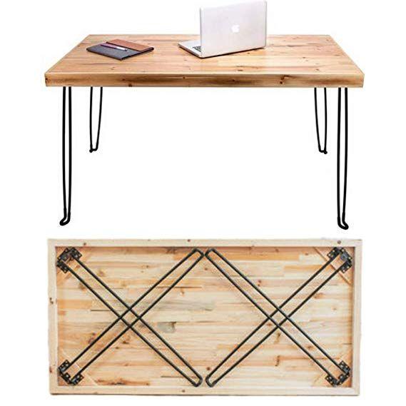 Amazon Com Sleekform Folding Desk Lightweight Portable Wood Table 47 X 24 Small Wooden Foldable Workstatio In 2020 Wood Table Legs Wood Table Diy Folding Table Diy