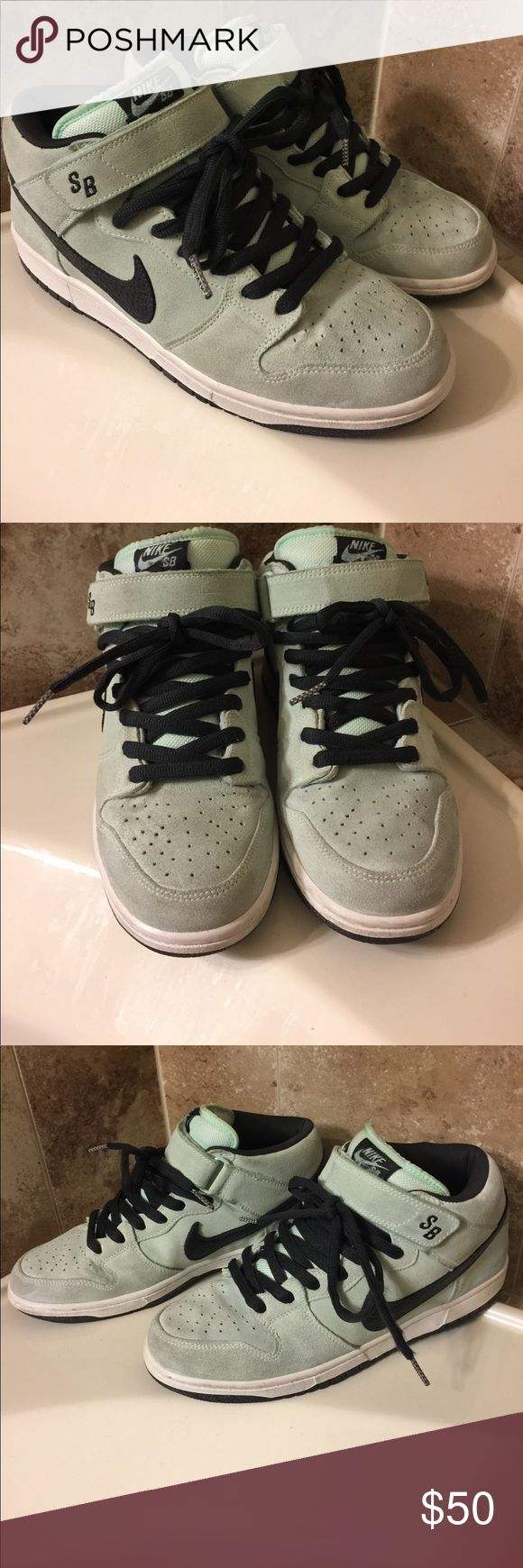 Nike SB mid top dunk Pre-owned mint green/dark grey midtop sb dunk. Suede Nike Shoes Sneakers