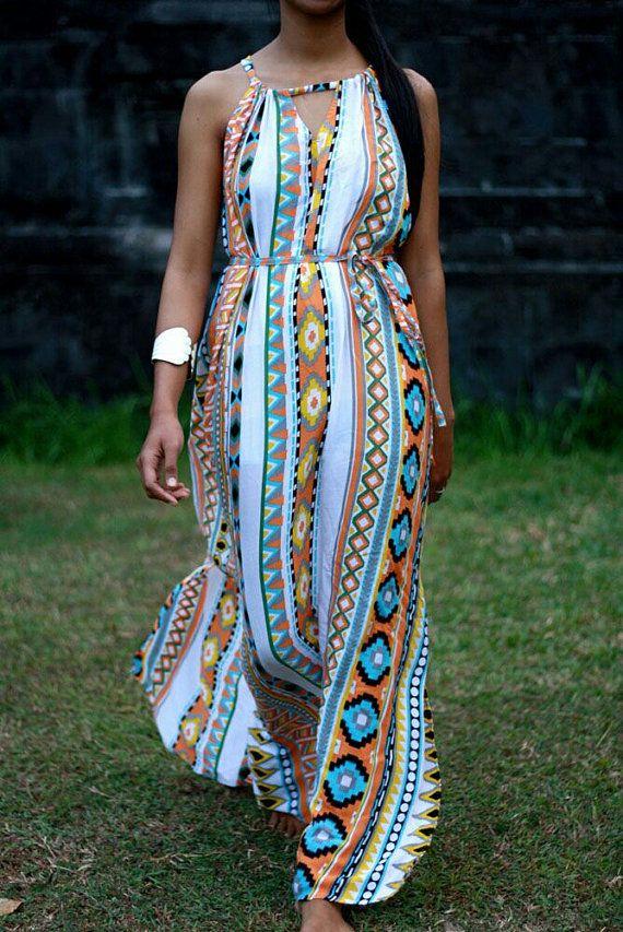 Tribal Maxi Dress Summer Dress Aztec Print Womens by LoNaDesign