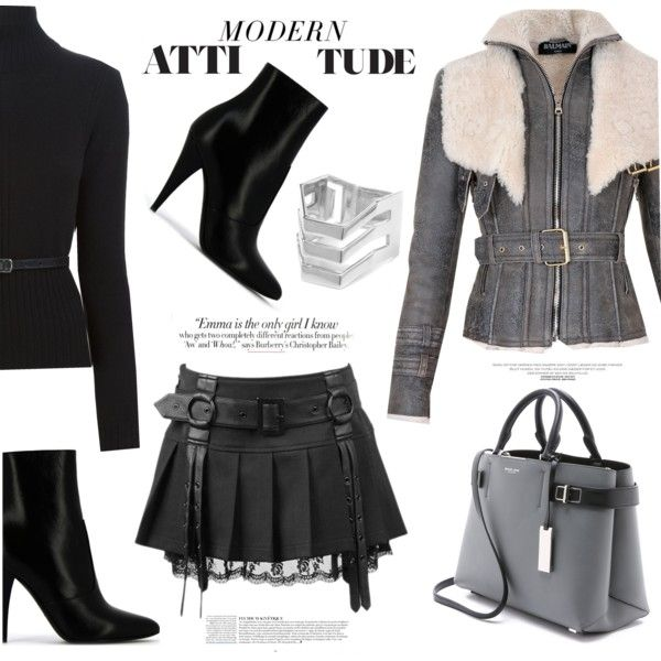 A fashion look from October 2015 featuring Dsquared2 sweaters, Balmain coats and Yves Saint Laurent ankle booties. Browse and shop related looks.
