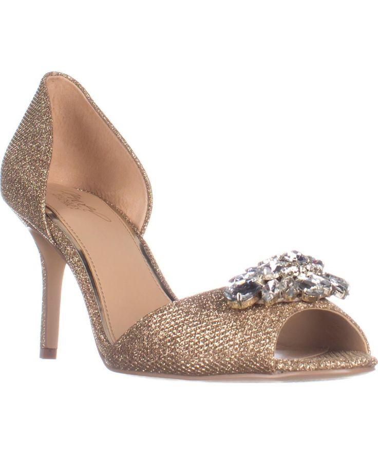 BADGLEY MISCHKA | Jewel Badgley Mischka Hays Dress Sandals, Gold Glitter #Shoes #Sandals #BADGLEY MISCHKA