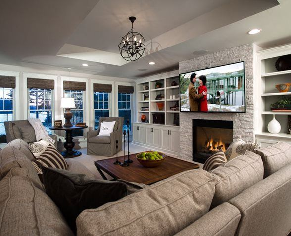 Finished Basement In A New Custom Home With Walkout To Pool On Beautiful Dunham Lake This Lakefront Walkout Finishing Basement Basement Design Basement Decor