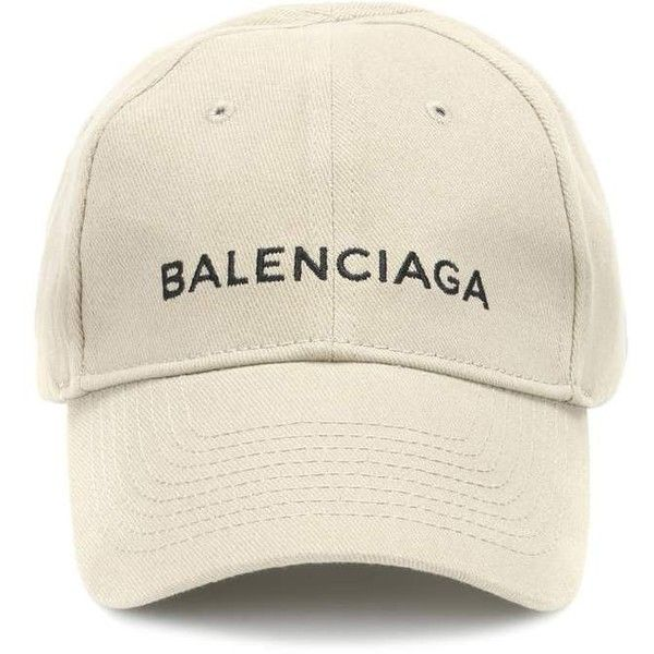 Balenciaga Embroidered Cotton Baseball Cap (10,790 THB) ❤ liked on Polyvore featuring accessories, hats, beige, cotton hat, cotton baseball hats, beige hat, baseball hat and ball cap hats