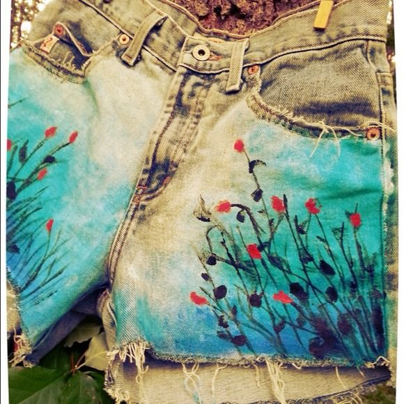*HOST PICK* Hand painted highwaisted shorts! My favorite that I've painted so far :) Jeans